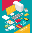 isometric art creative office workplace vector image vector image