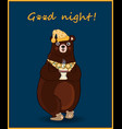 kawaii cartoon bear in slippers and night cap vector image vector image