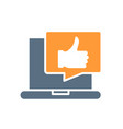 laptop with thumb up in speech bubble colored icon