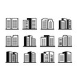 line icons buildings and company set on white vector image vector image