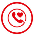 love phone rounded icon vector image vector image