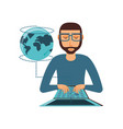 man with laptop and planet earth vector image vector image