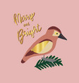merry and bright retro bird christmas card vector image