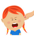 mothers hand pulling the ear of crying daughter vector image vector image