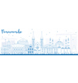 Outline Paramaribo Skyline with Blue Buildings vector image vector image