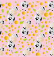 pattern with cartoon cute toy cow vector image vector image