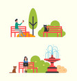 people sitting on bench in city park autumn season vector image vector image