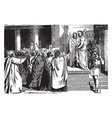 pilate brings jesus before people vintage vector image vector image