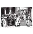 pilate brings jesus before the people vintage vector image vector image