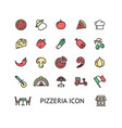 pizza sign color thin line icon set vector image