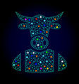 polygonal mesh cow boy with light spots for vector image