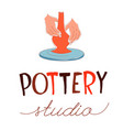 pottery studio traditional pottery making hands vector image