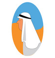 profile of an arab in the desert white background vector image