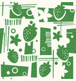 seamless mid century modern pattern strawberries vector image vector image