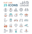 set flat line icons london and uk vector image