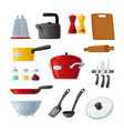 set icons kitchenware and utensils cooking pan vector image