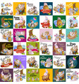 set of easter egg hunt funny bunny with basket vector image