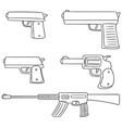 set of gun vector image