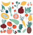 set with hand drawn doodle fruits and vegetables vector image