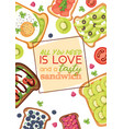 toast sandwich healthy toasted food with vector image vector image