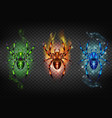 toxic igniting and freezing spiders set vector image vector image