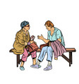 two elderly women sitting on a bench vector image