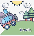 van with trees and sun with clouds vector image vector image
