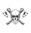 vintage monochrome skull and crossed axes vector image vector image