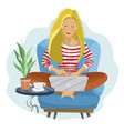 young female blogger freelancer woman using vector image vector image