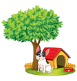 a doghouse and dog under tree vector image