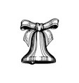 bell and bow hand drawn vector image