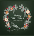 bird on christmas wreath made of hand drawn fir vector image vector image