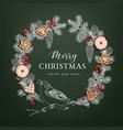 bird on christmas wreath made of hand drawn fir vector image