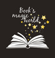 books magic world poster open book with white vector image