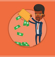 businessman shaking out money from his briefcase vector image vector image
