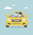 businesswoman driving yellow car on the road vector image vector image