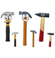 Cartoon hammers with smiling face vector image