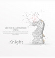 chess knight low poly wire frame on white vector image vector image