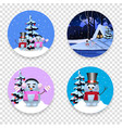 christmas new year round signs set with cute vector image
