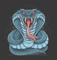 cobra snake full body blue vector image vector image