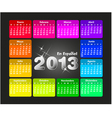 Colorful calendar 2013 in spanish vector image vector image