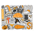 colorful doodle art for halloween party vector image vector image