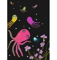 Colorful Octopus on Black Cartoon Greeting Card vector image vector image