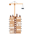 Construction building with crane vector image vector image