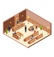 court hearing cross section vector image