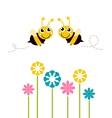 Cute beautiful bees with colorful flowers vector image