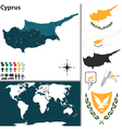 Cyprus map world vector image vector image