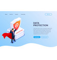 data protection or superhero worker concept with vector image