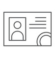 driver license thin line icon documents and card vector image vector image