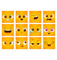 emoji face collection funny cartoon comic square vector image vector image
